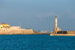 Old port of Chania on Crete, Greece. Chania is the second largest city of Crete. View of the old port of Chania on Crete, Greece. Chania is the second largest stock images