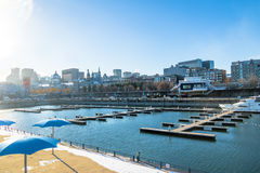 Old Port and city skyline - Montreal, Quebec, Canada royalty free stock photography