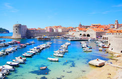 Old port in Dubrovnik. Panoramic view of Old port in Dubrovnik, Croatia stock photography
