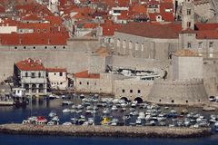 The old port of Dubrovnik. Panoramic view of the old port in the historic city of Dubrovnik at the Adriatic coast of Croatia royalty free stock photo