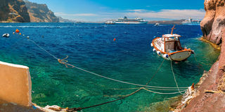 Old Port of Fira, main town Santorini, Greece Stock Images