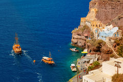 Old Port of Fira, main town Santorini, Greece Stock Photography