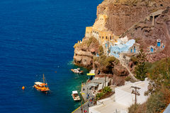 Old Port of Fira, main town Santorini, Greece Royalty Free Stock Photos