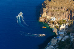 Old Port of Fira, main town Santorini, Greece Royalty Free Stock Photography