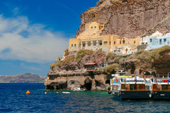 Old Port of Fira, main town Santorini, Greece Stock Photos