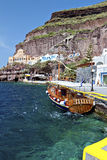 Old port of Fira at Santorini island Stock Images