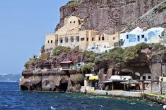 Old port of Fira at Santorini island Royalty Free Stock Photo