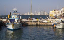 The old port with fishing ships in Jaffa. Israel Royalty Free Stock Photos