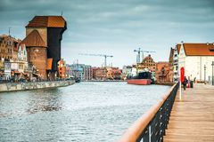 Old Port of Gdansk with the Crane Stock Photo