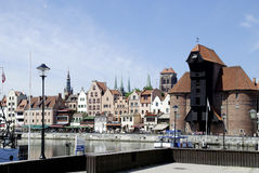 Old Port of Gdansk with the Crane in Poland Stock Image