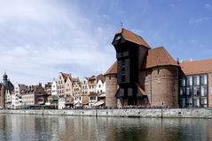 Old Port of Gdansk with the Crane in Poland Royalty Free Stock Image
