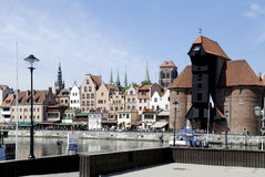 Old Port of Gdansk with the Crane in Poland Stock Photography