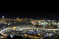 Old Port Genoa. Ancient port of Genoa, half of tourism, aquarium, bigo, and biosphere Stock Image