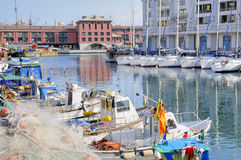 Old port in Genova. Fisherman boats in old port of Genova, Italy Stock Image