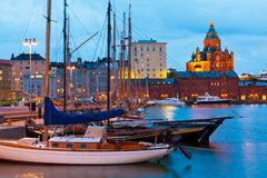 Old Port in Helsinki, Finland. Colorful evening scenery of the Old Port in Katajanokka district of Helsinki, Finland Royalty Free Stock Photo
