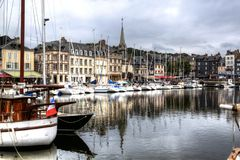 The old port of Honfleur. stock image