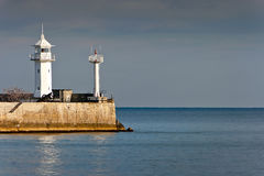 Old Port lighthouse on the Black Sea Royalty Free Stock Images