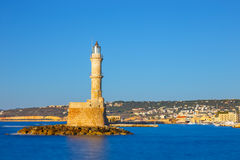 old port and Lighthouse in Chania, Crete, Greece. Long exposure Stock Photography