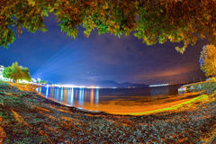 The old port in Limenas - Thassos island ,Greece at night Royalty Free Stock Photography