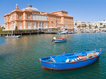 Old port with Margherita Theatre. Bari. Apulia. Royalty Free Stock Photography