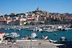 Old Port of Marseille. View of the entrance to the old port in Marseille on July 29, 2013. 2013 is the year designating Marseille as the European Capital of Royalty Free Stock Photos