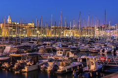 Old Port in Marseilles in France. Boats anchored in the harbor in Marseilles in France Royalty Free Stock Photos