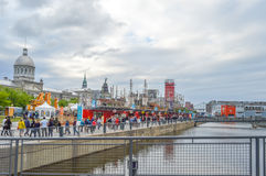 Old Port of Montreal, Canada. People can be seen around. stock photo