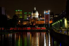 Old port in Montreal during the evening royalty free stock image