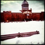Old port montreal. Snow winter Stock Photos