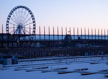 Old Port of Montreal During the Winter at Dawn stock photos