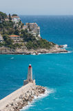 Old port of Nice Lighthouse Royalty Free Stock Photo