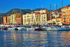 Old port of Nice on sunset. Royalty Free Stock Image