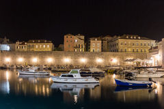 Old port at night. Dubrovnik. Croatia Royalty Free Stock Images