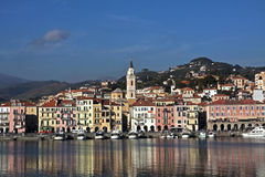 Old Port Of Imperia,sailing Boat,bell Tower Stock Photo