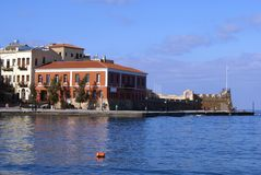 The Old Port or Old Harbor of Chania city in Crete, Greece, Europe Royalty Free Stock Images