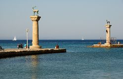 Old port on Rodos. Old port on island Rodos Stock Images