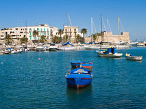 Old port with rowboats. Bari. Apulia. Royalty Free Stock Photo