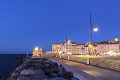 Old Port of Saint-Tropez in France. View on Tour du Portalet in Saint-Tropez in France in the evening stock photos