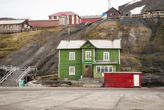 Old port sea office in Barentsburg, Svalbard Royalty Free Stock Photos
