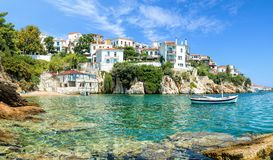 The old port of Skiathos. In Greece at the beautiful sunny summer day royalty free stock photos