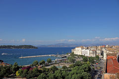 Old port and square Corfu town Stock Photo