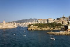 The old port of third largest city in France, Marseille, Provence, France on the Mediterranean Sea Royalty Free Stock Images