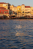 The old port town Chania, Crete. Greece with its tourists and various restaurants Stock Photo