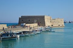 Old port and Venetian fortress in Heraklion, Greece. Historical Venetian Fortress in Heraklion, Crete Island, Greece Stock Photography