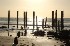 The Old Port Willunga Jetty. The remnants of a jetty that was washed away during a storm during the early twentieth century Stock Photos