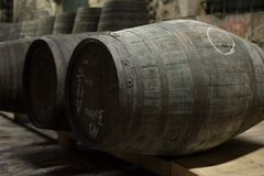 Old port wine barrels storage in Douro valley Stock Images