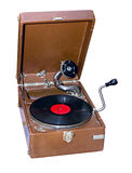 Old portable phonograph. Old portable gramophone isolated on a white background Royalty Free Stock Photography