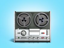 Old portable reel to reel tube tape recorder 3d render on blue. Old portable reel to reel tube tape recorder 3d render on royalty free illustration