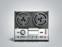 Old portable reel to reel tube tape recorder 3d render on grey. Old portable reel to reel tube tape recorder 3d render on royalty free illustration