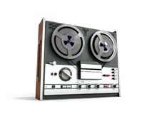 Old portable reel to reel tube tape recorder 3d render on white. Old portable reel to reel tube tape recorder 3d render on stock illustration